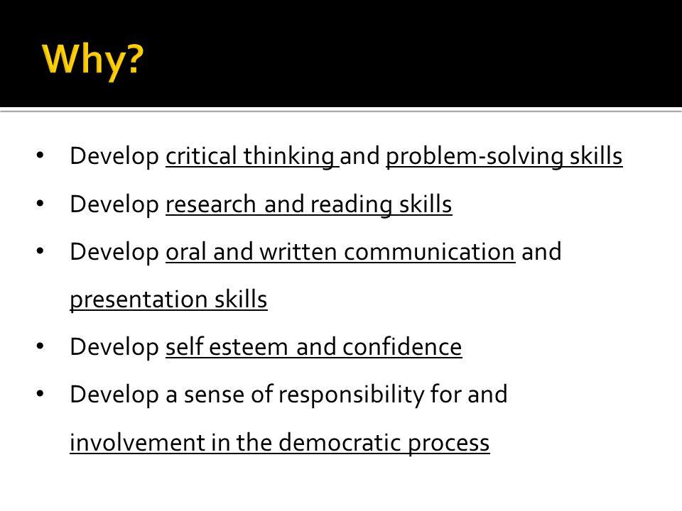 Development of critical thinking skills