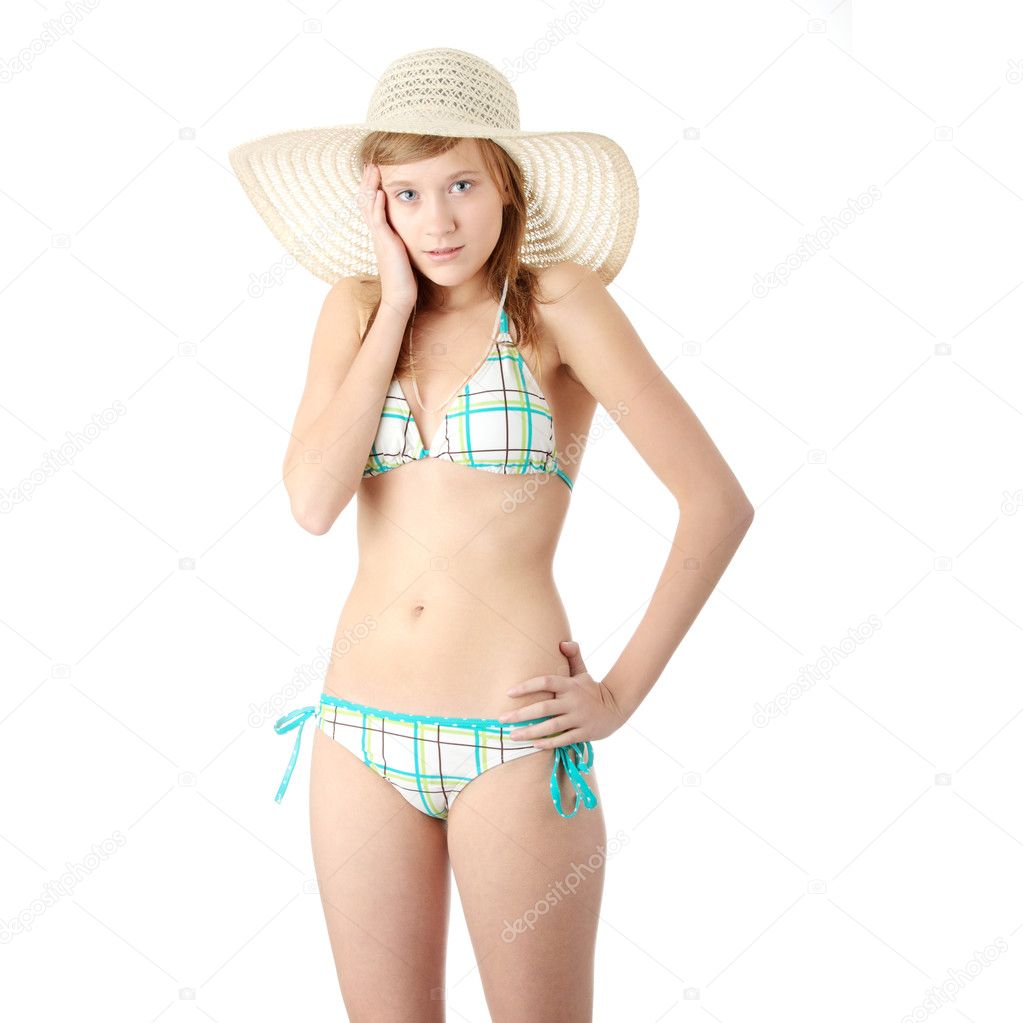 Hot teen blonde wearing bikini