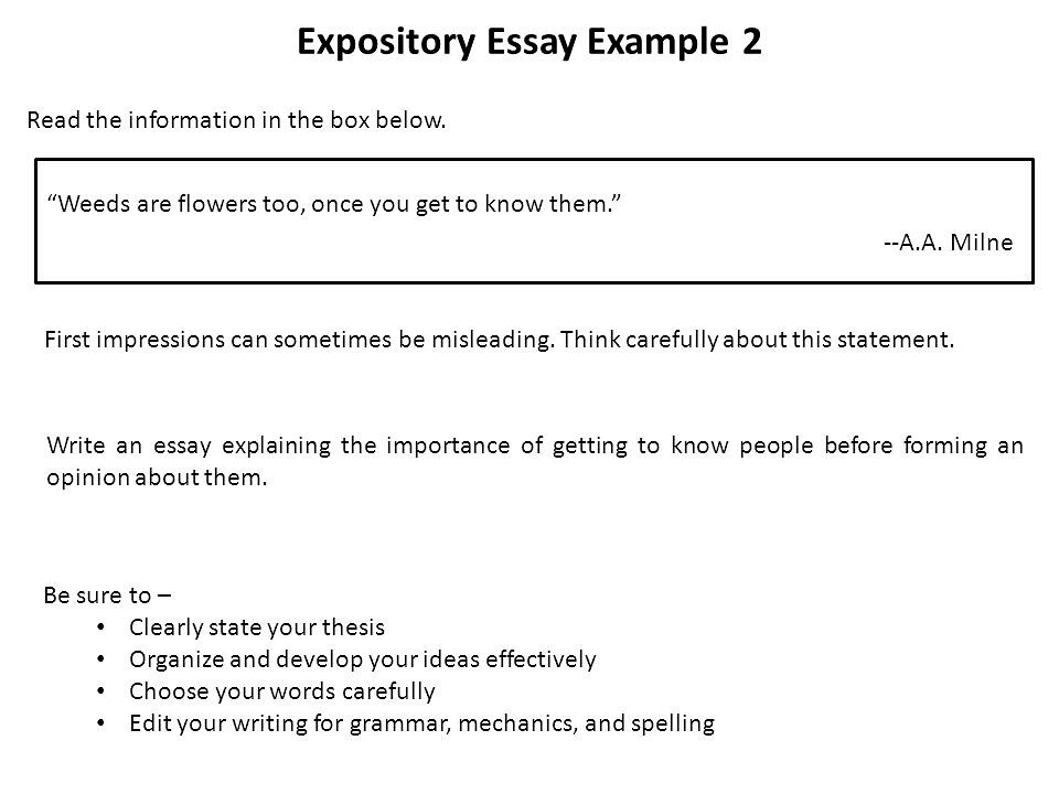 Expository essay format for high school