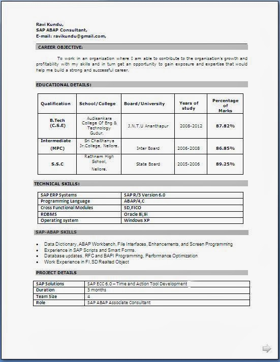 resume format download toretoco - Student Resume Format Download