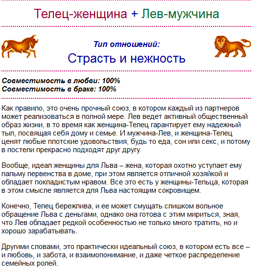Любовный гороскоп совместимости женщи  лев