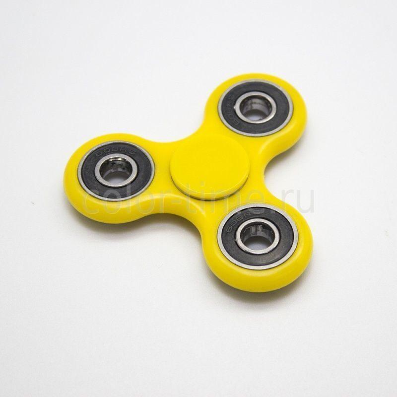 Спиннер игрушка ручной антистресс 3 лопасти с шариками желтый 5484604