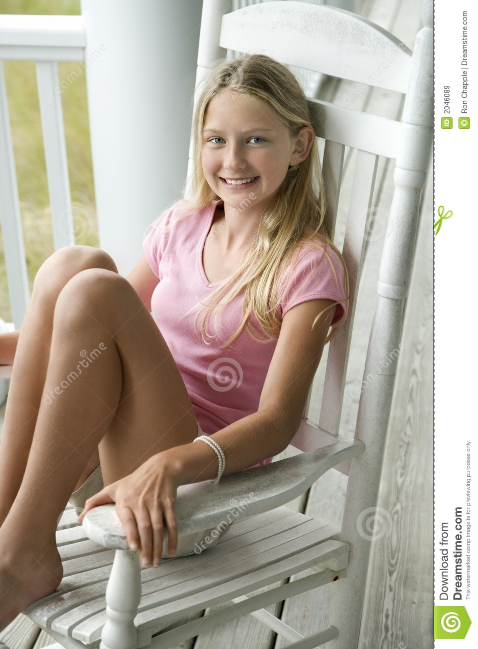 Sitting teen on chair girl