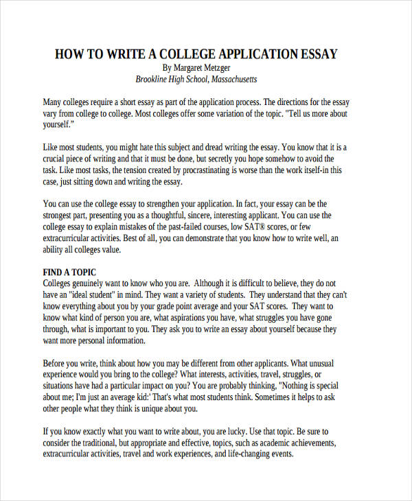 Write my good essay examples for college application