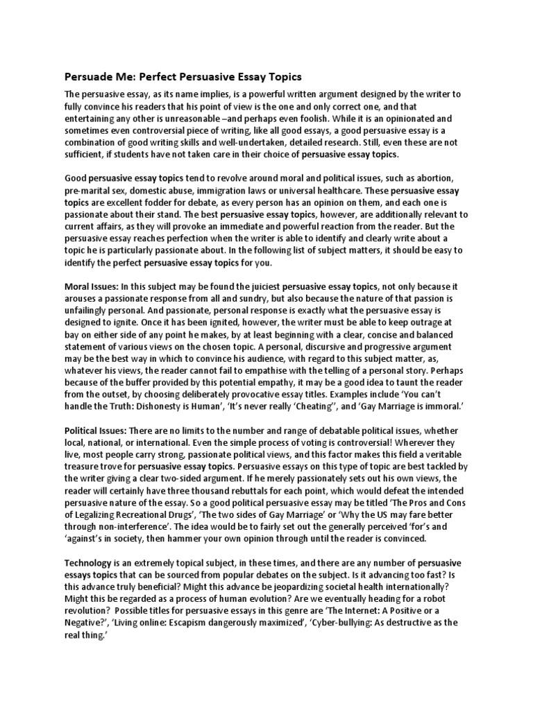 List of good persuasive essay topics