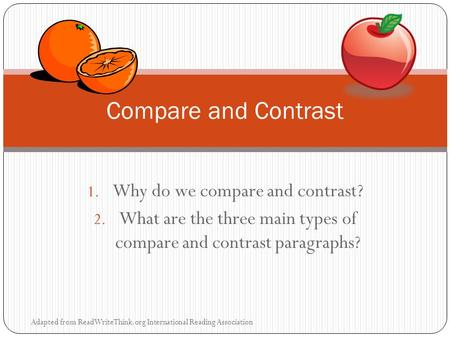 Compare and Contrast Essays comparison ontrast thesis