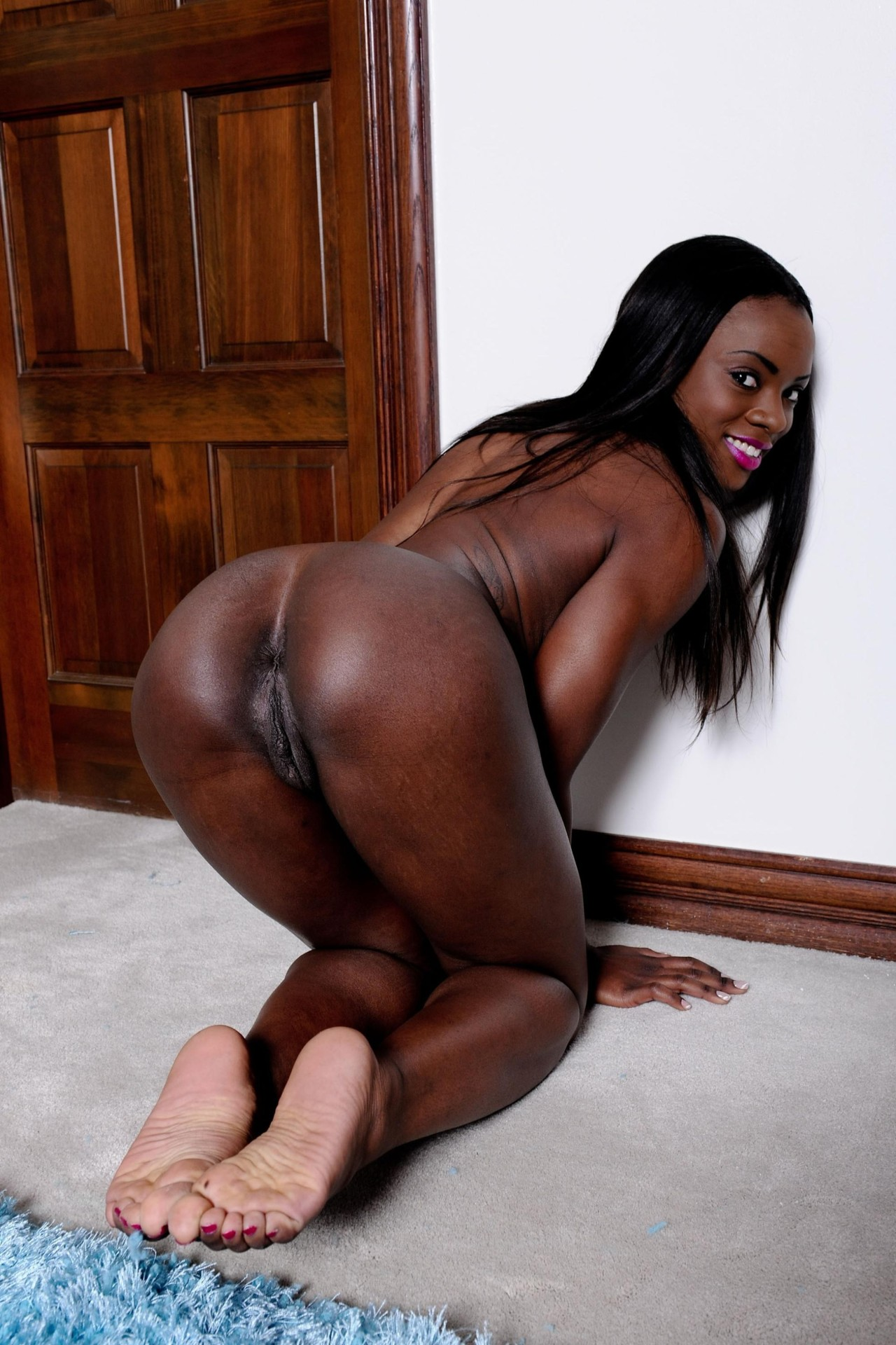 Big black booty spanked