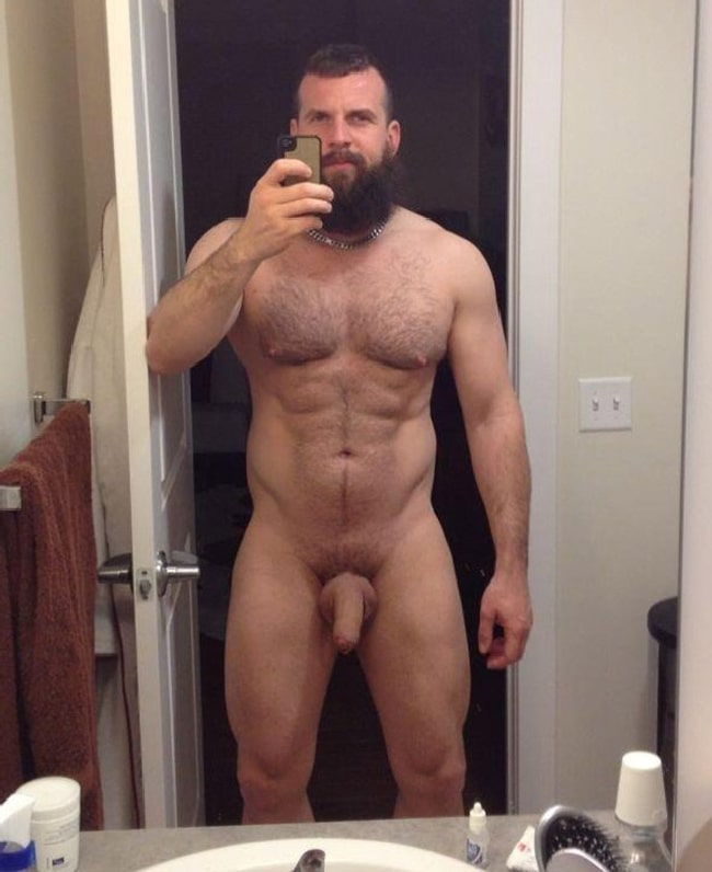 Naked hairy muscular man hairy