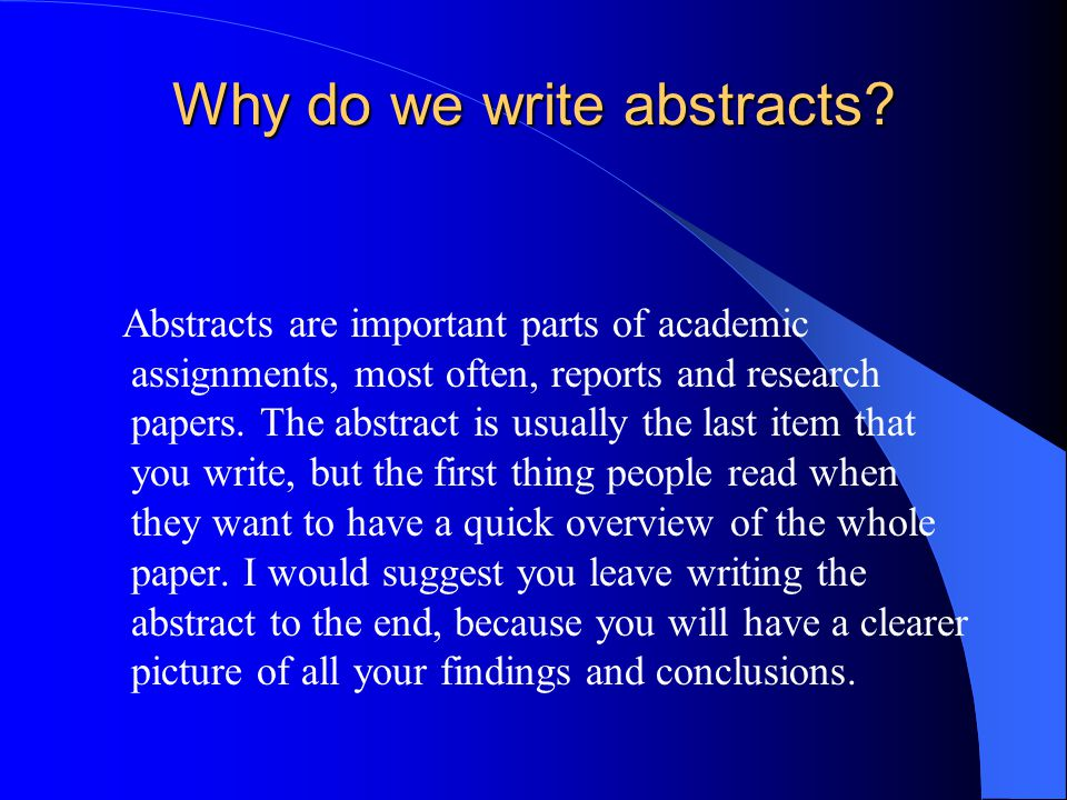 Abstracts research papers