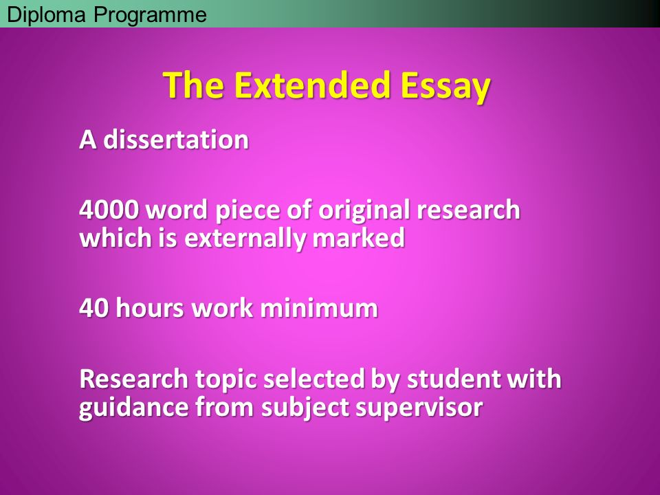 "past extended essays ib International baccalaureate (ib) programme ""the extended essay is a central part of the ib diploma programme and you must complete it in order to be awarded a."