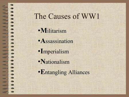 Causes of the ww1 essay
