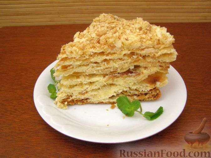 Слоёный торт наполеон с фото