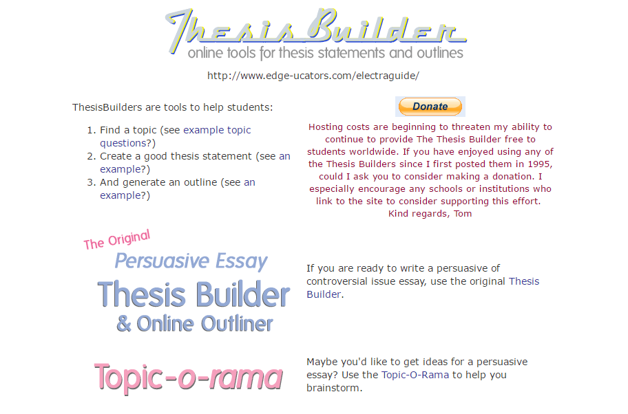 Thesis statement generator for persuasive essay