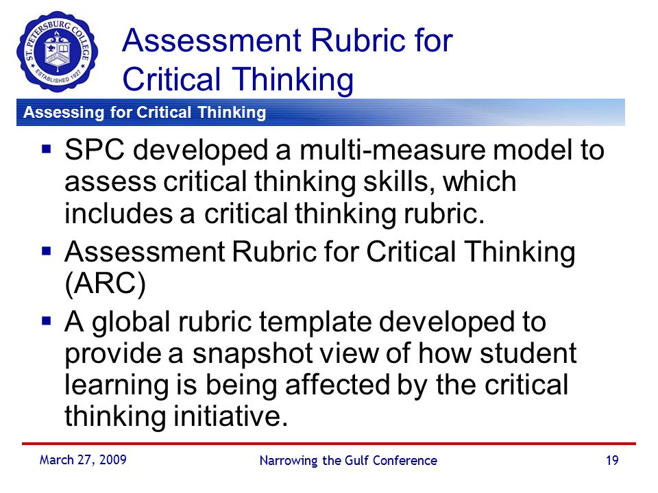 Critical Thinking Framework for any Classroom - ISETL
