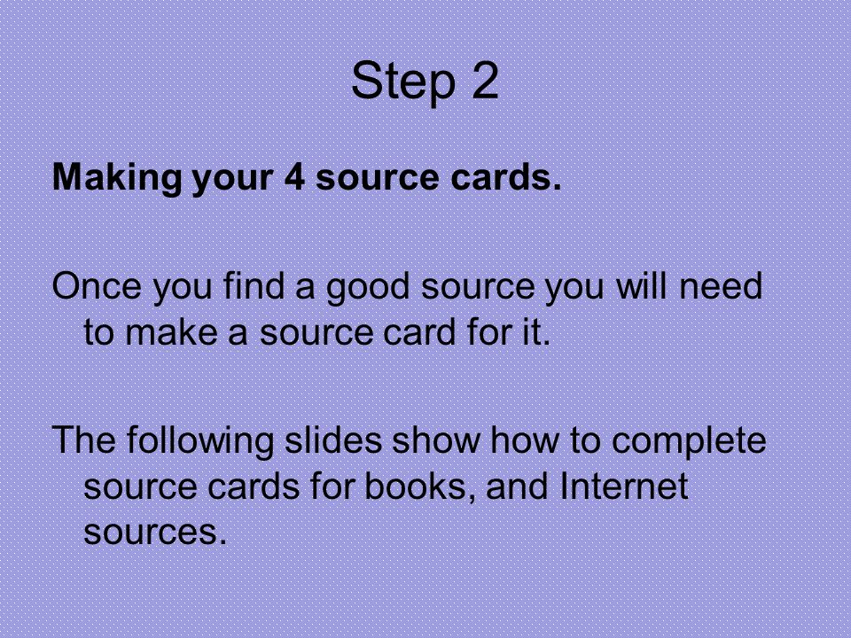 How to make source cards for a research paper