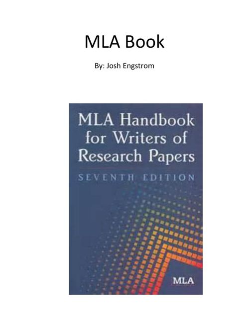 Mla handbook for writers of research papers 7th edition paperback