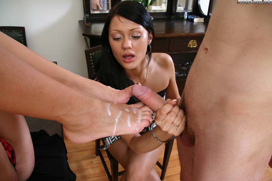Handjob on massage table
