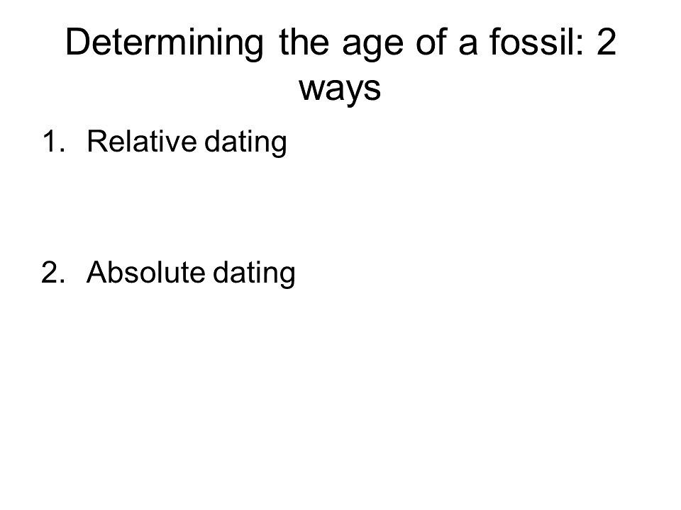 What dating method is used to determine the absolute age of a fossil