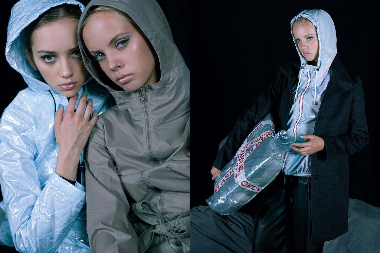 Слева: куртка Topshop, 3999 р.,  ветровка Uniqlo, 1499 р.,  брюки Zara, 2999 р. Справа: ветровка Wanda Nylon, 9200 р.,  пальто Uniqlo, 3999 р., шорты H&M, 1999 р.