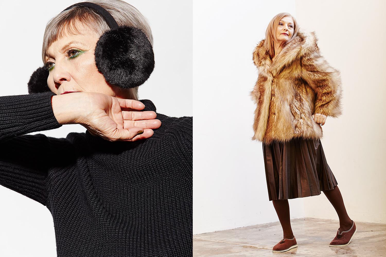 Слева: свитер Caractère, 4590 р.,  наушники Asos, 896 р. Справа: юбка Zara, 3399 р.,  шуба Monki, 6500 р.,  тапочки — собственность модели.