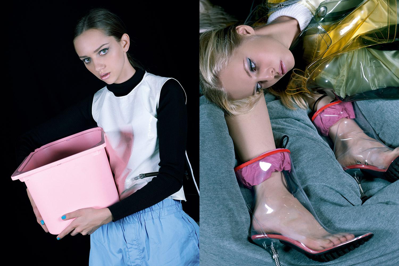 Слева: водолазка Uniqlo, 999 р., жилет Wanda Nylon, 8600 р., брюки Comme des Garçons Shirt, 29 500 р. Справа: плащ Miu Miu, 89 000 р., сапоги Miu Miu, 43 000 р.