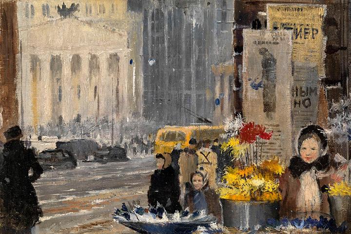 Юрий Пименов. Бумажные цветы и снег, 1945