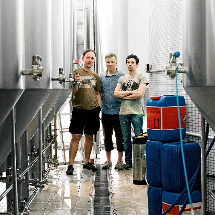 Основатели петербургской пивоварни Никита Филиппов, Дмитрий Булдаков и Артем Кольчуков