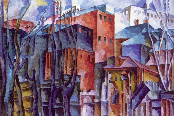 Аристарх Лентулов. Пейзаж с сухими деревьями и высокими домами