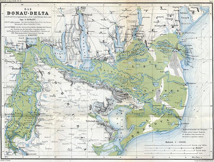 Карта дельты Дуная 1867 года