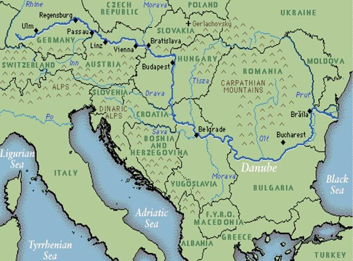 Десять государств, которые расположены на берегах Дуная