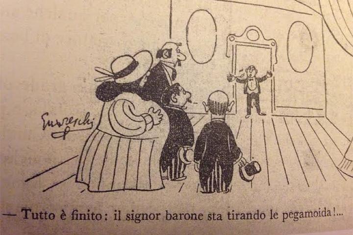 «Все кончено: синьор барон отбросил кожзаменитель!» (итальянское выражение tirare le cuoia — дословно «натянуть кожу» — значит «умереть, отдать концы»)