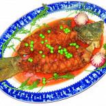 Ресторан Синяя река - фотография 4 - Карп в кисло-сладком соусе, 800 руб/ кг. (Живая рыба, ловится на ваших глазах)