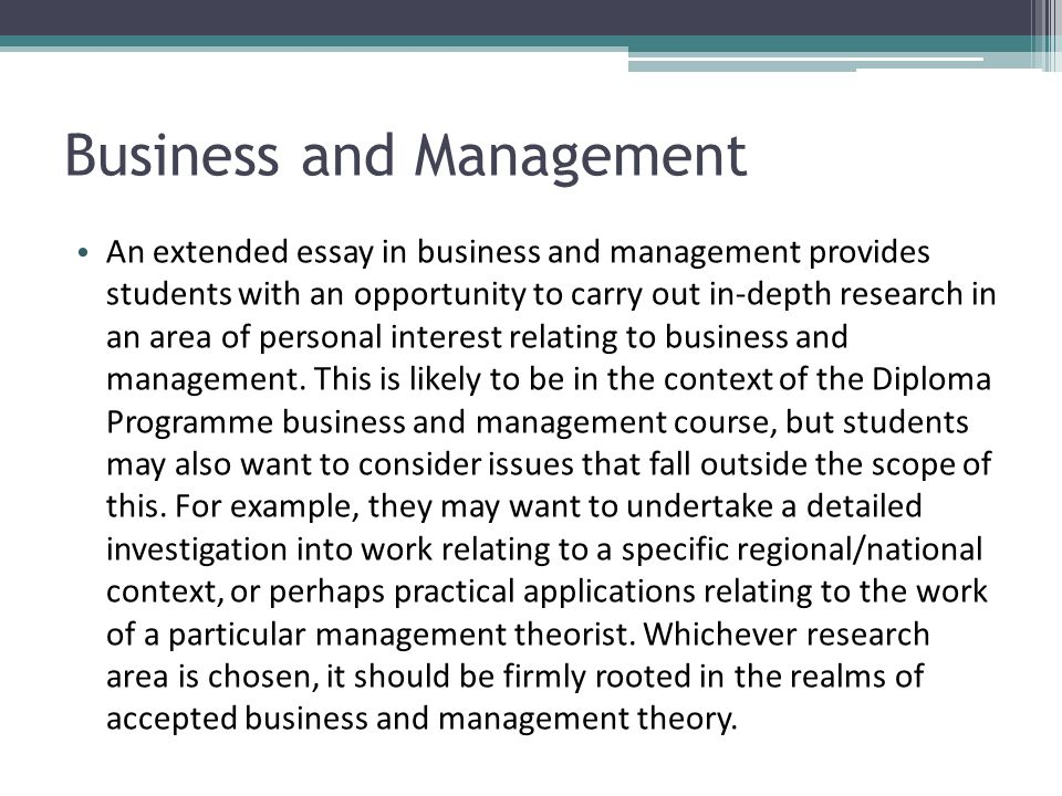 Write my ib business and management extended essay