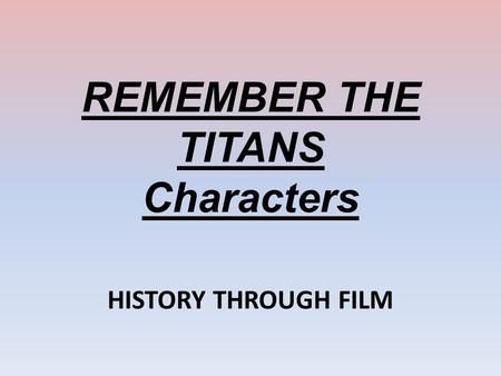Write my remember the titans thesis