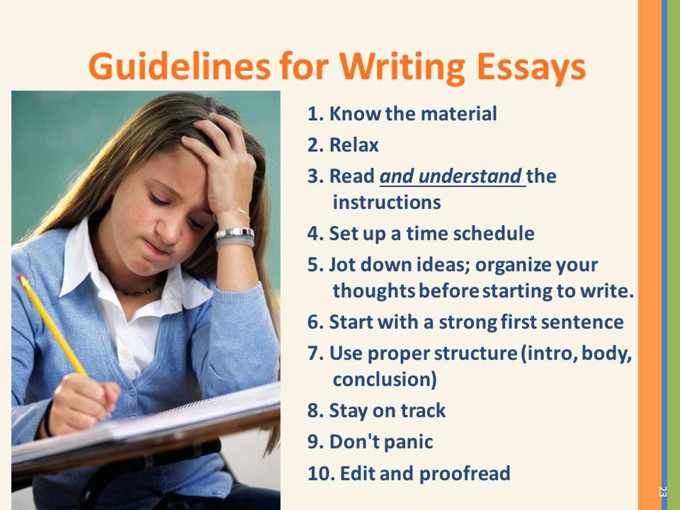 Guidelines for writing essays