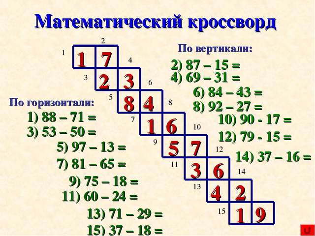 Кроссворд по математике 8 класс с ответами
