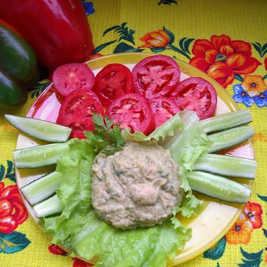 Рецепт Быстрый хумус изфасоли ссырыми овощами