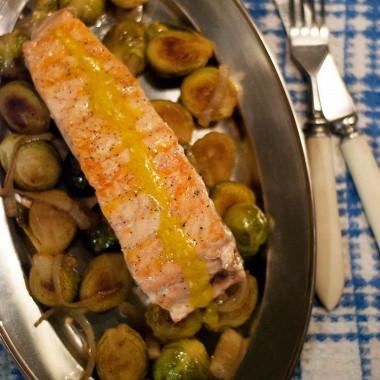Рецепт Жареные филе лосося ибрюссельская капуста