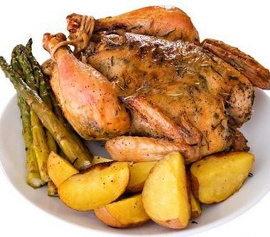 Рецепт Курица, фаршированная говядиной иклюквой